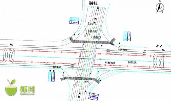 海口椰海大道与海榆中线交叉口开放南北交通